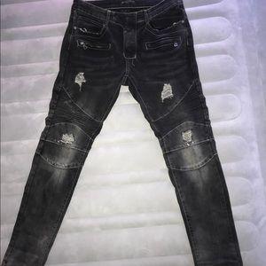 Balmain Men's Slim Fit Ripped Black Jeans